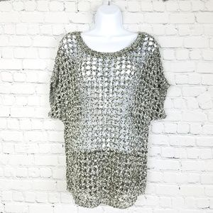 New York & Co Loose Knit Short Sleeve Sweater, M